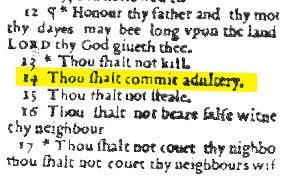 Cuando la Biblia declaró el adulterio obligatorio en Inglaterra.