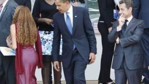 Obama y jovencitas
