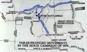 Las tres columnas avanzando hacia Little Bighorn