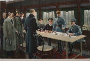 Alemania firma el armisticio en 1918.