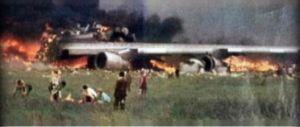Restos incendiados del Jumbo de Pan Am