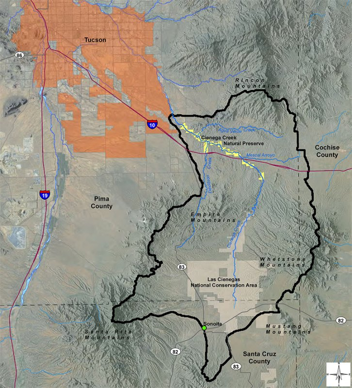 Cienega Watershed boundaries map