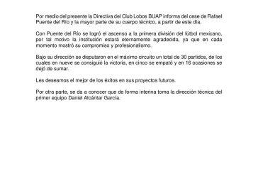 Rafael Puente fue cesado de Lobos BUAP