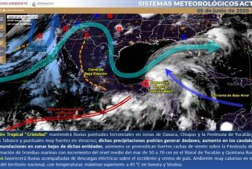 Continuarán  las lluvias torrenciales en el sureste de México