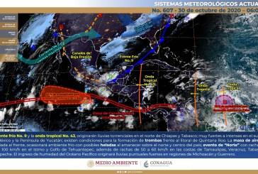 Lluvias puntuales e intensas en la Península de Yucatán y condiciones para la formación de trombas frente al litoral de Quintana Roo