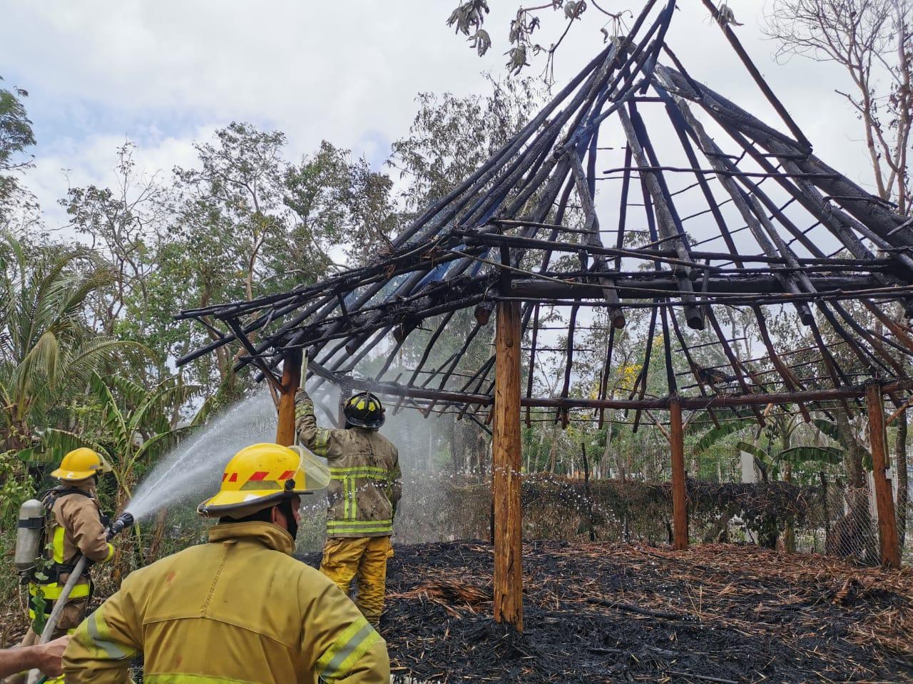 Bomberos extinguen incendio en un predio de la colonia Huertos Familiares de Cozumel