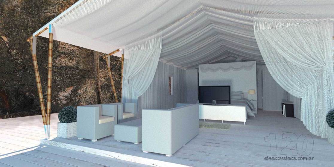Beach hotel room tent design