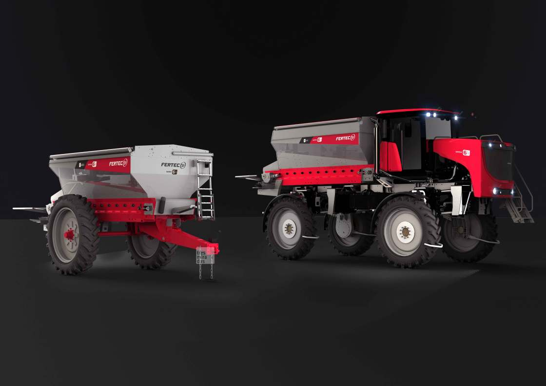Fertec's new self propelled and towed fertilising machines. Product render