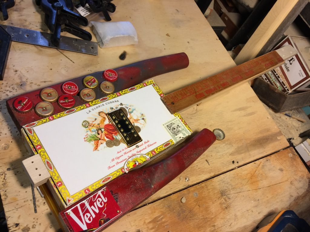 hight resolution of cigar box guitar building tip neck reinforcement with humbuckers
