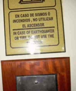 A sign from the elevators in the Crown Plaza Hotel in Managua