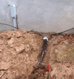 finally a hole was drilled near the existing service entrance  [ 1161 x 900 Pixel ]