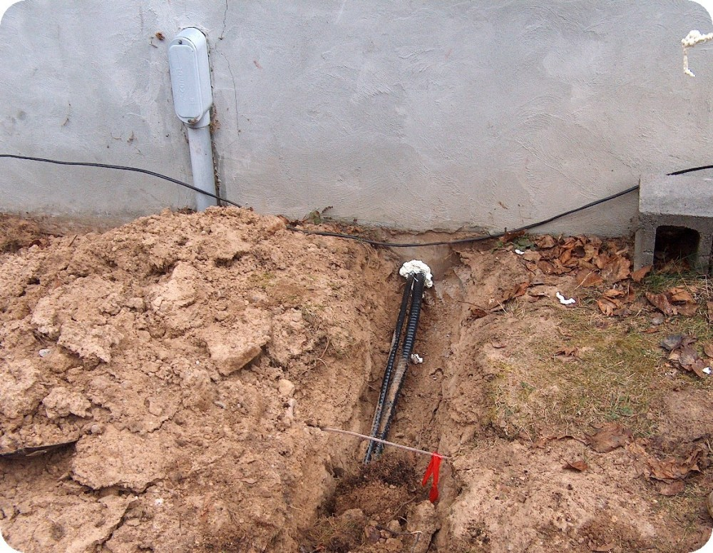 medium resolution of finally a hole was drilled near the existing service entrance