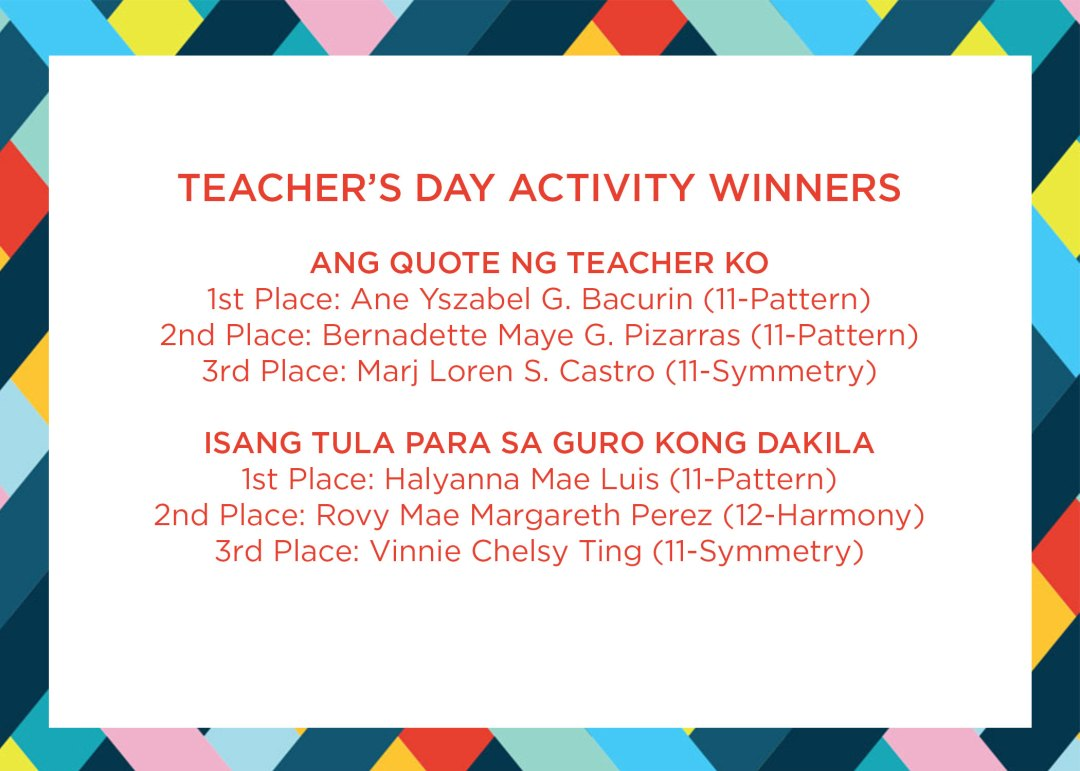 CIIT UN and Halloween Celebration Teacher's Day Activity Winners