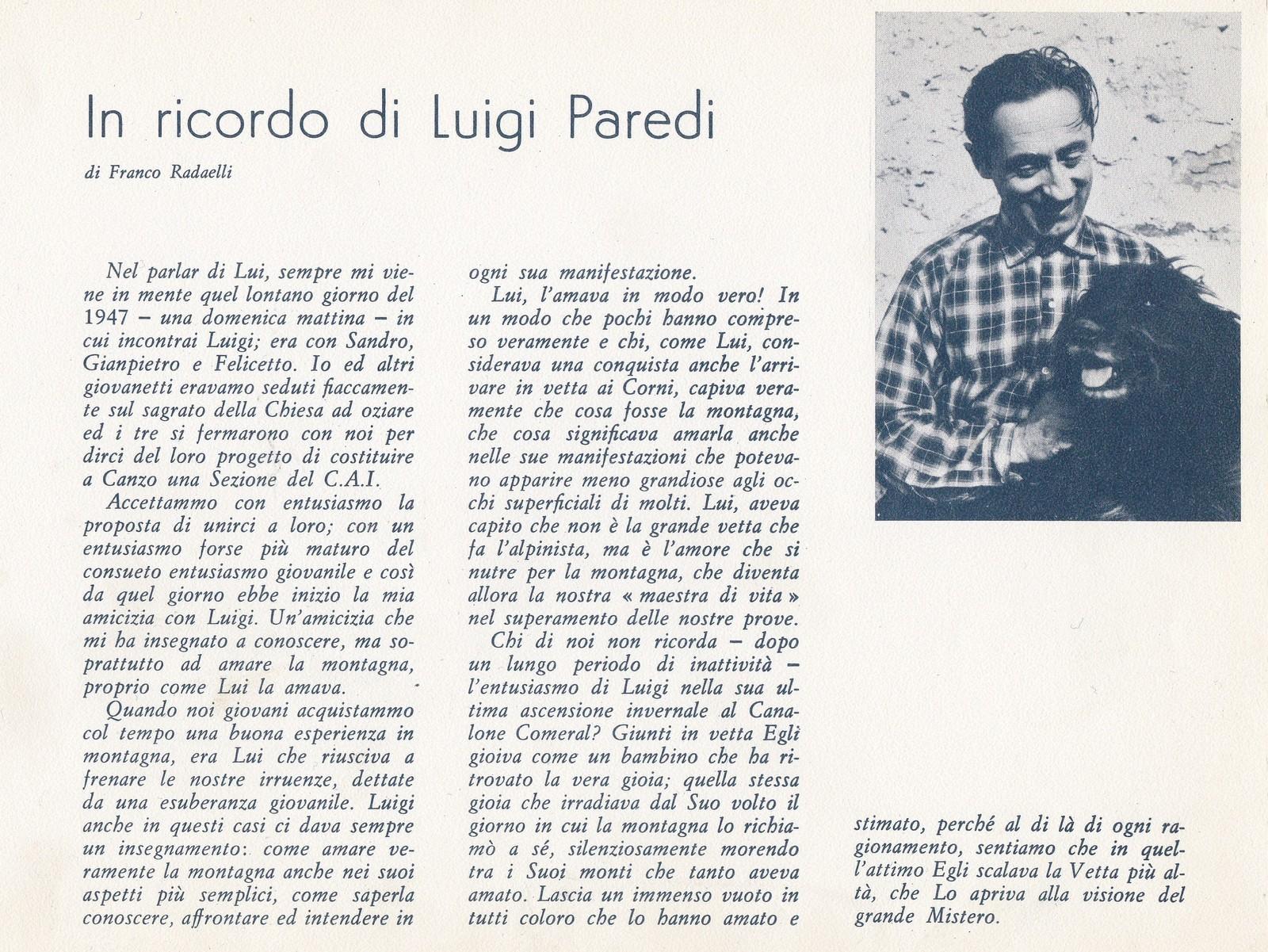 In ricordo di Luigi Paredi
