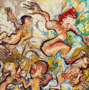 Peinture à quatre mains du couple d'artistes Frédéric AMblar et Elisabeth Guilhem