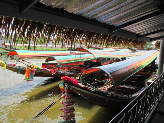 Longtail boats in Taling Chan market