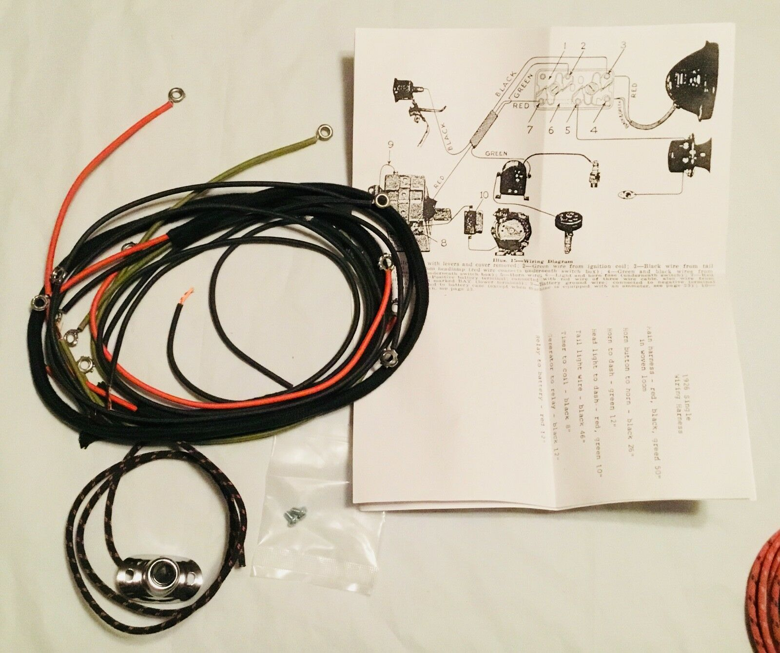 hight resolution of  harley 192628 single wiring harness pea shooter w horn sw a b