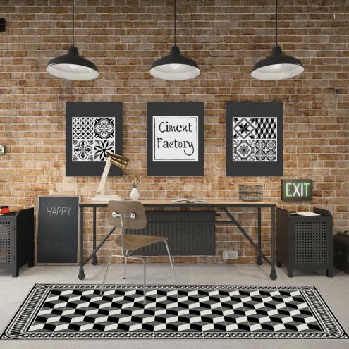 tapis vinyle imitation carreaux de