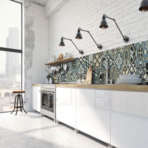 Credence Adhesive Imitation Carreaux De Ciment Deco Interieure Design Tendance Ciment Factory
