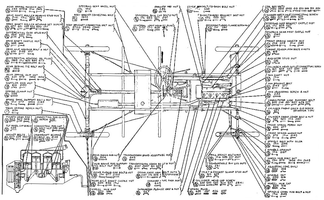 Ford t technical drawing