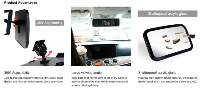 product advantages - Baby Car Mirror, Shatter-Proof Acrylic Baby Mirror for Car, Rearview Baby Mirror-Easily to Observe the Baby's Every Move Safety and 360 Degree Adjustability