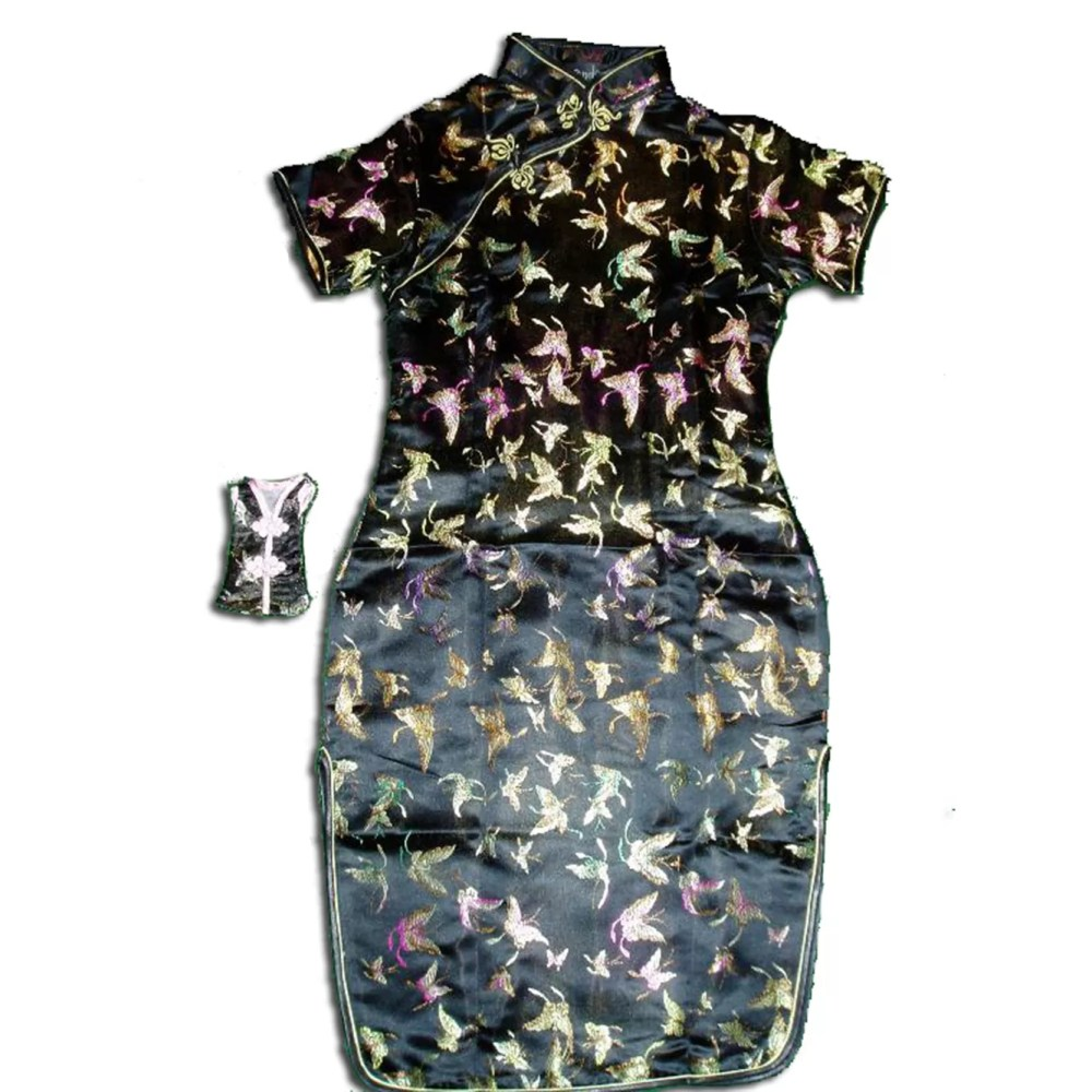 Girls Black Oriental Chinese Dress Qipao Cheongsam with Purse Butterfly