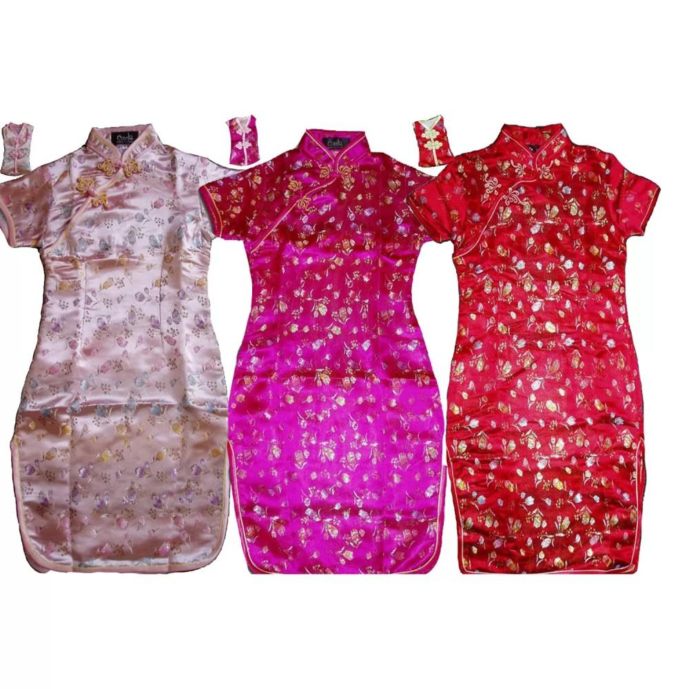 Girls Flower Oriental Chinese Dress Qipao Cheongsam with Purse