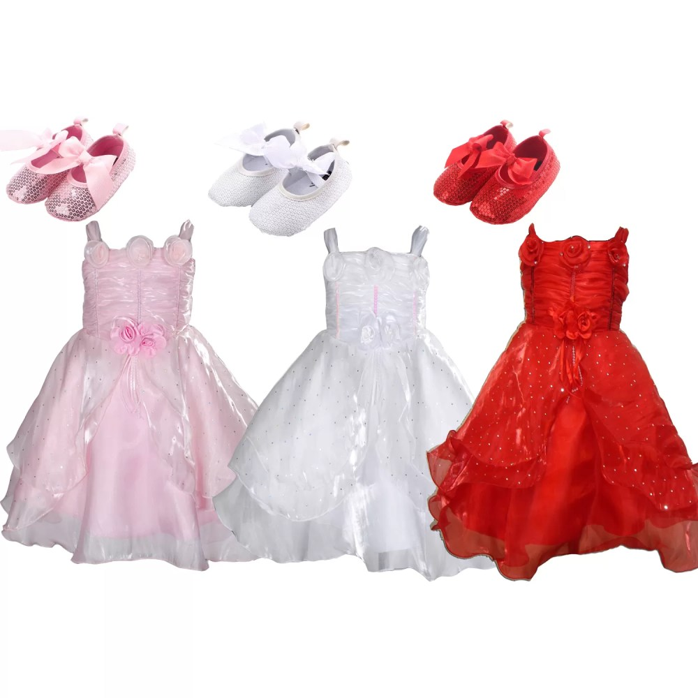 Baby Girls Christening Wedding Party Dress with Shoes 002K10