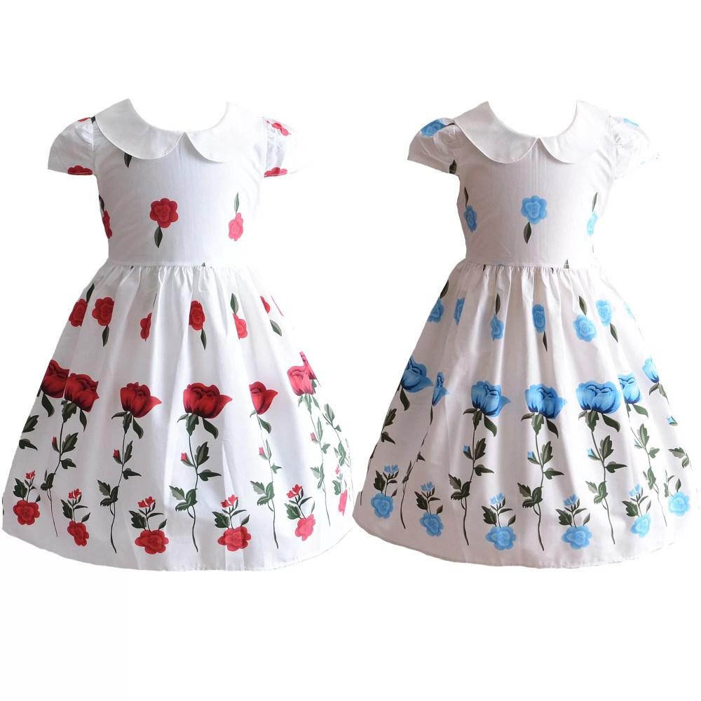 Girls Girls Summer Cotton Rose Party Dress XL7031