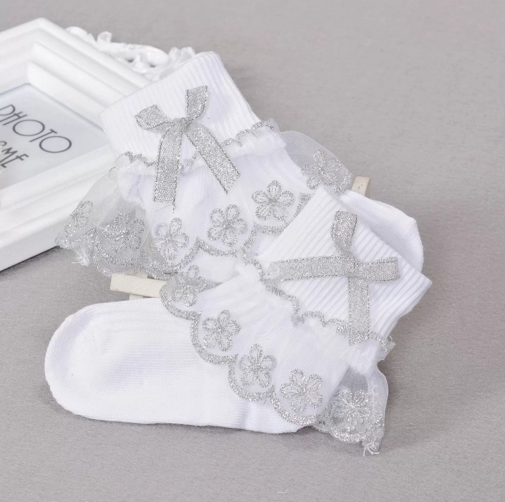 White and Silver Flower Frilly Christening Socks 1-8 Years