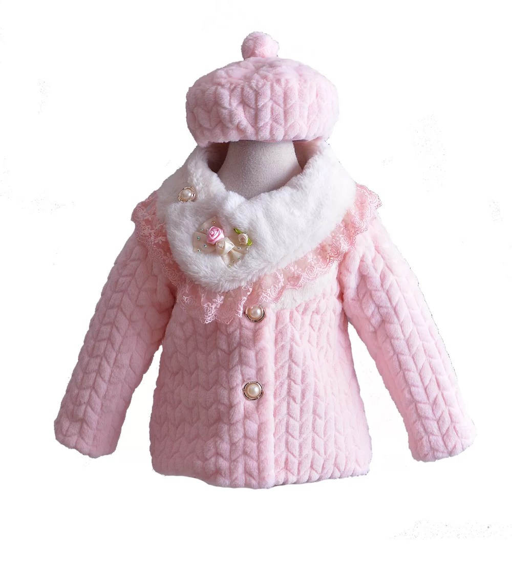 Girls Long Sleeves Pink Coat with Hat 8756