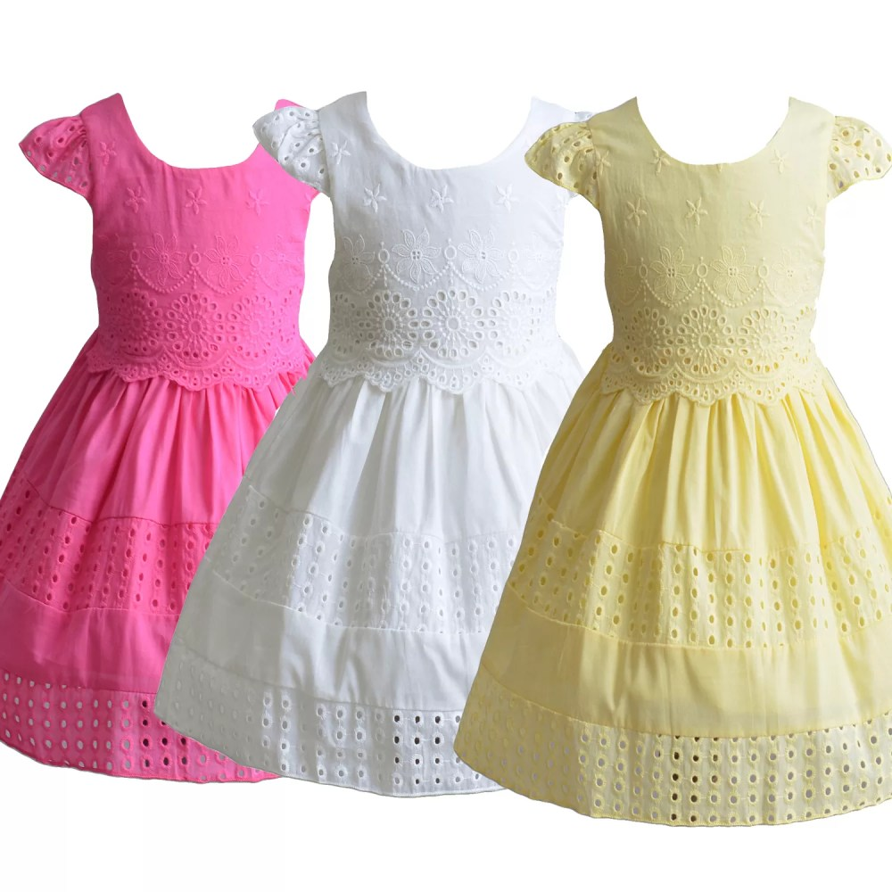Baby Girls Cotton Party Dress in Hot Pink Yellow Ivory XL1806