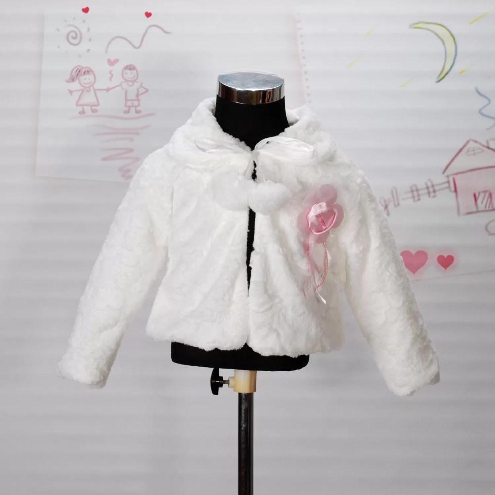 Faux Fur Long Sleeves Coat Bolero in Ivory Pink 2 3 4 5 6 7 8 Years