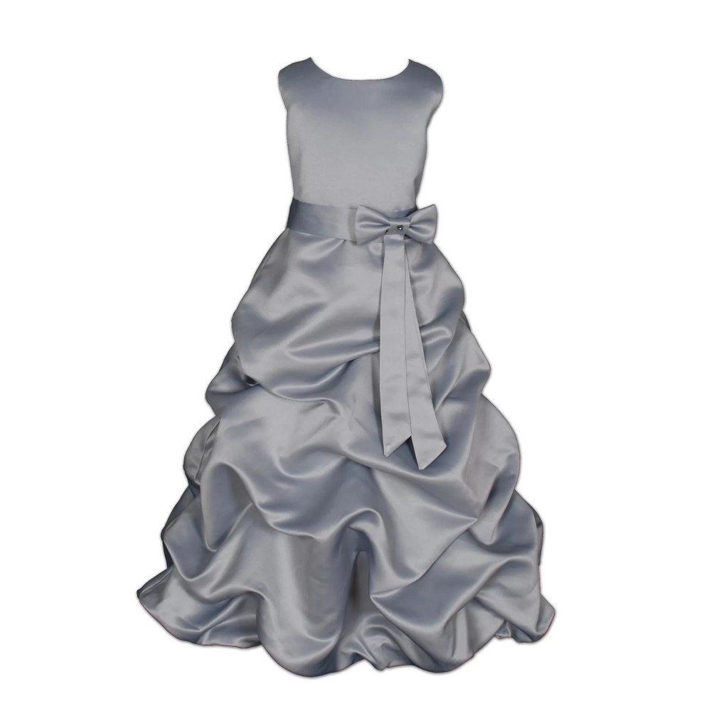 SILVER GREY SATIN FLOWER GIRL DRESS BRIDESMAID DRESS