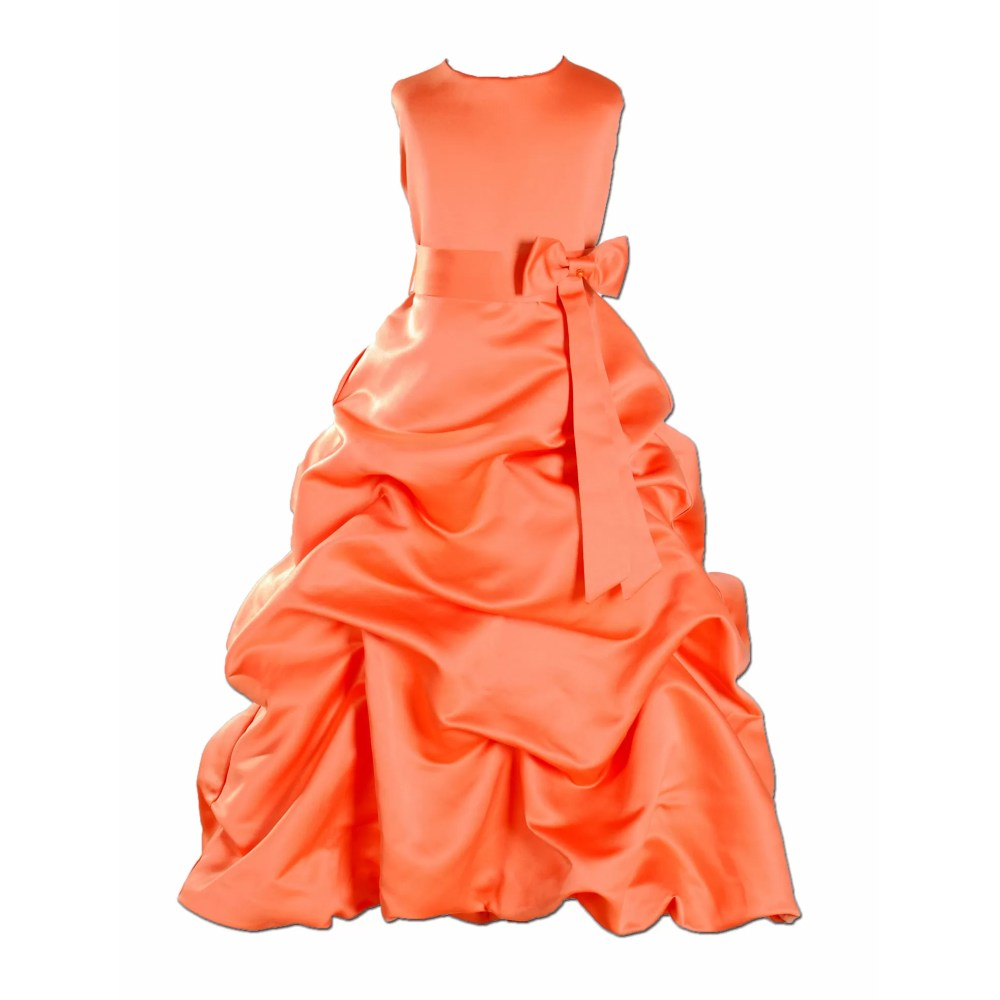 ORANGE SATIN FLOWER GIRL DRESS BRIDESMAID DRESS