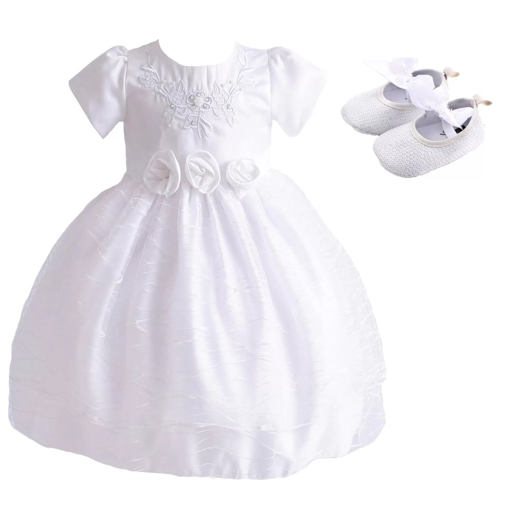Baby Girls White Christening Dress and Shoes