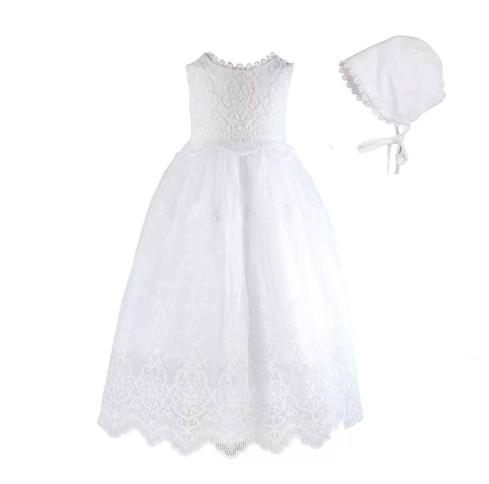 Baby Girls White Lace Christening Gown with Bonnet