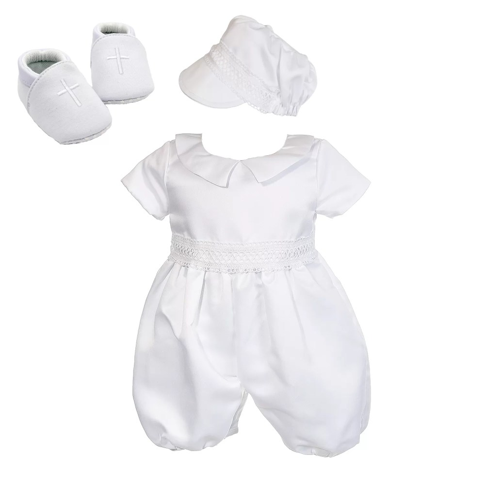 Boys White Satin Christening Romper Hat and Shoes 3 6 9 12 18 Months