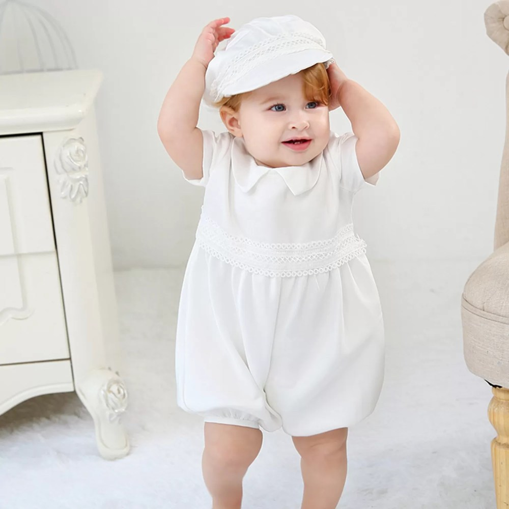 Boys White Satin Christening Romper Set and Hat  3 6 9 12 18 Months