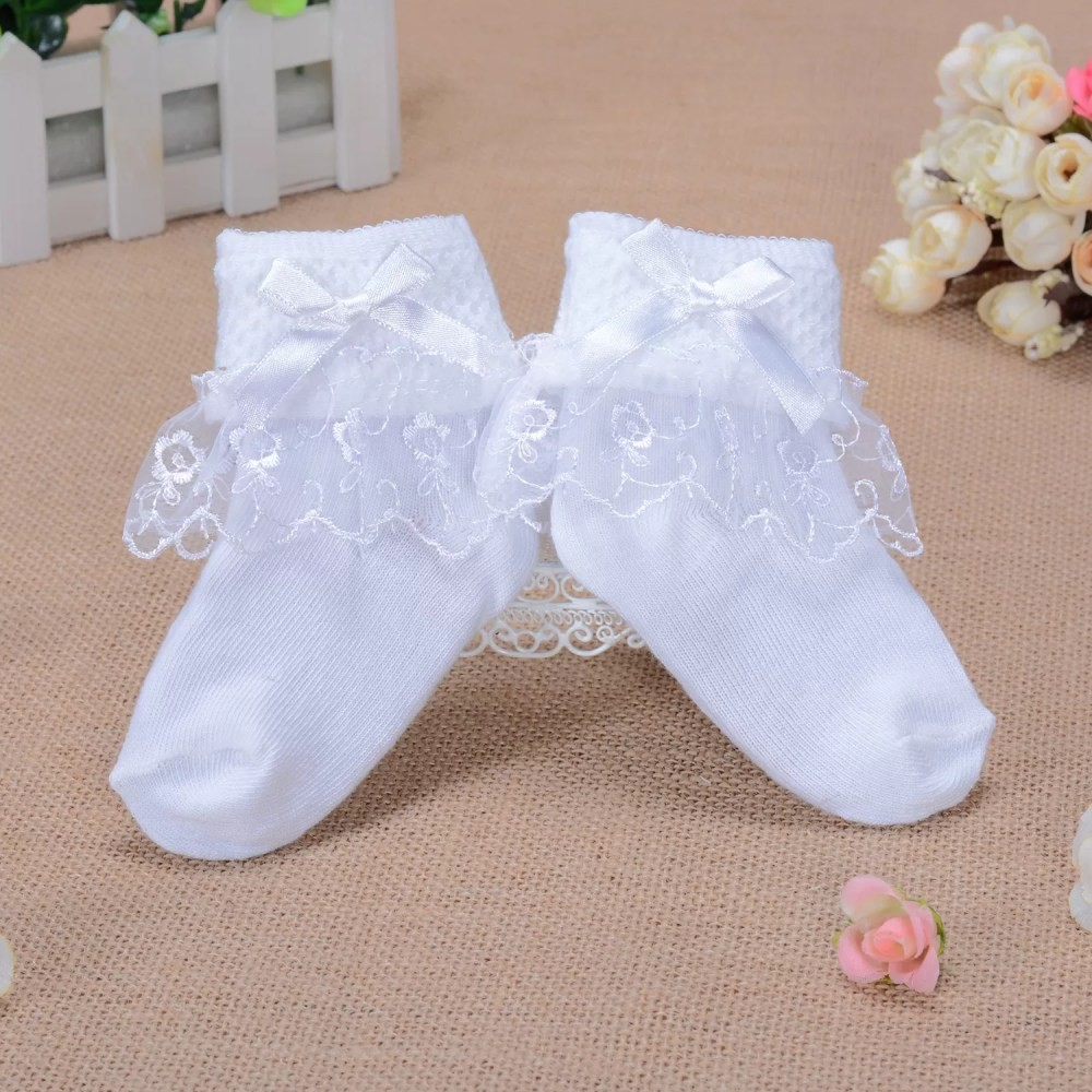 Girls White Lace Flower Frilly Christening Socks 1-8 Years (Copy)