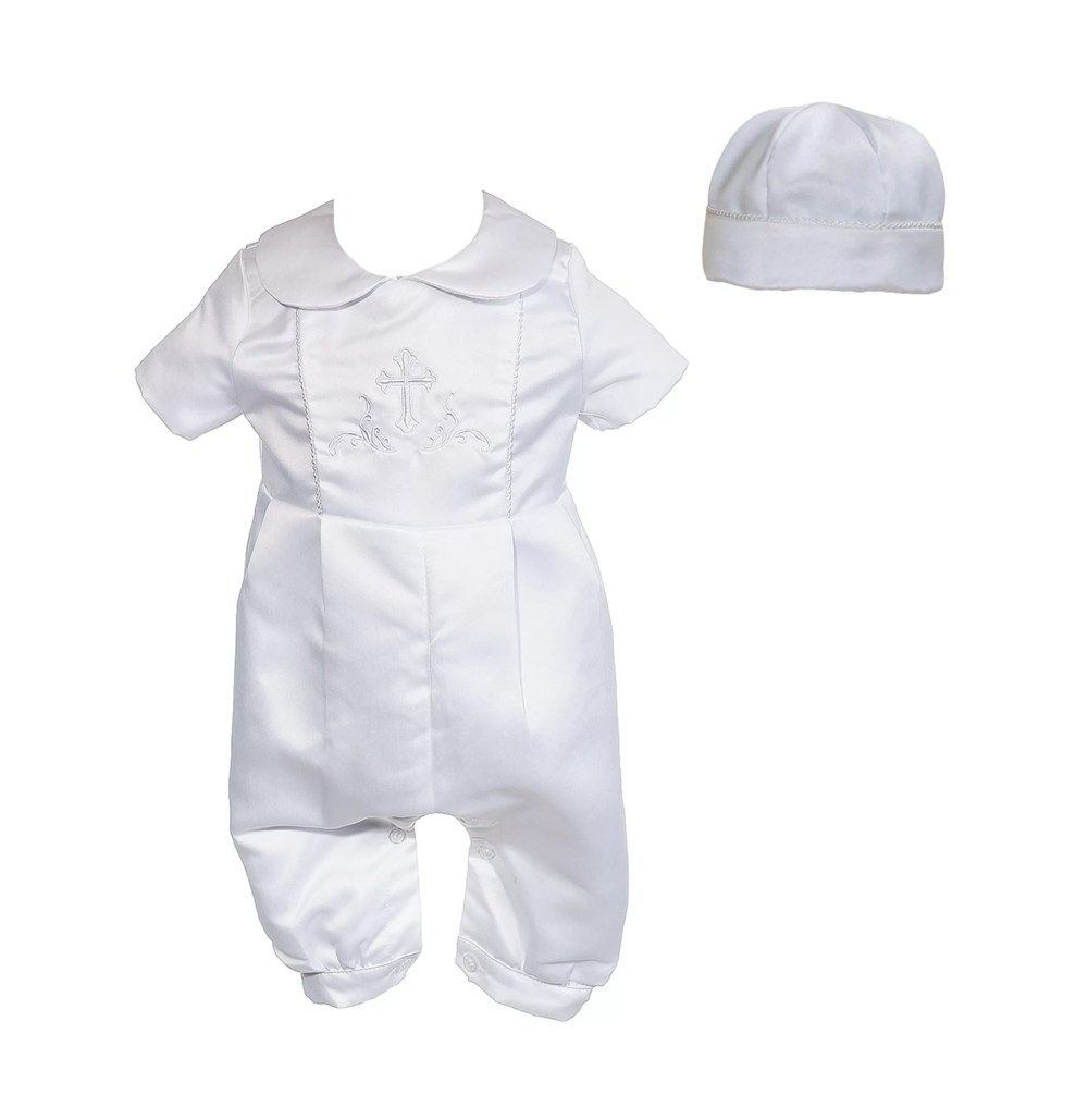 Boys White Satin Christening Romper Set and Hat 0 3 6 9 12 Months