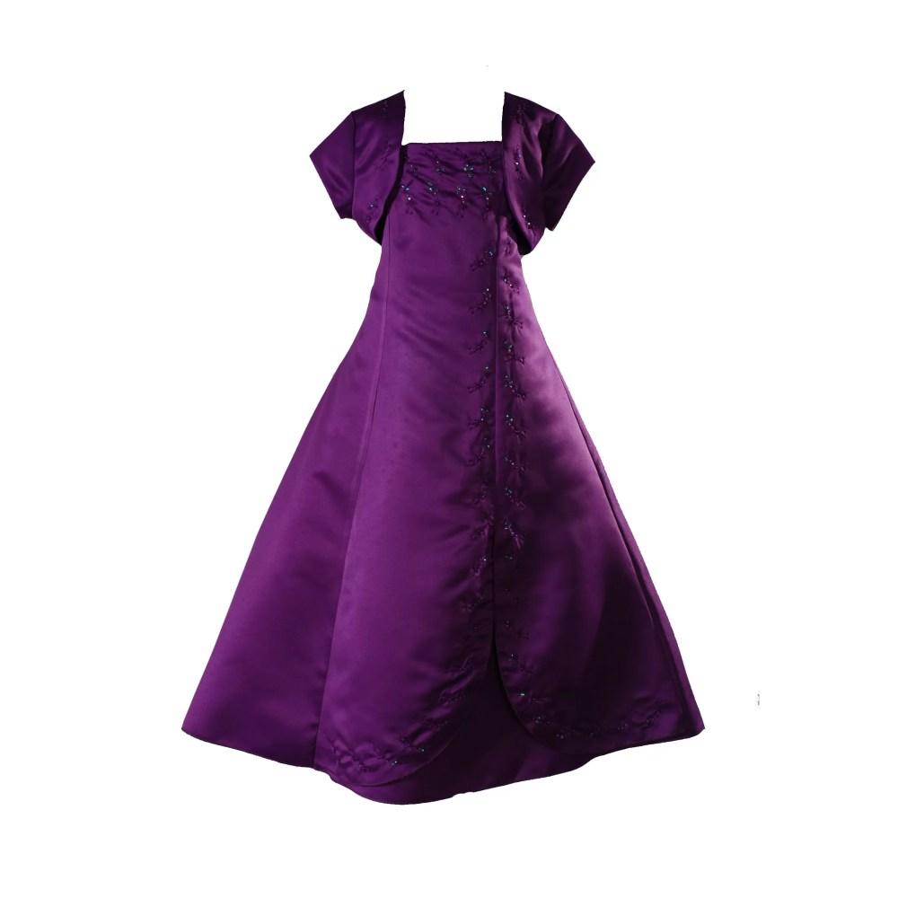 Girls Purple Satin Prom Dress
