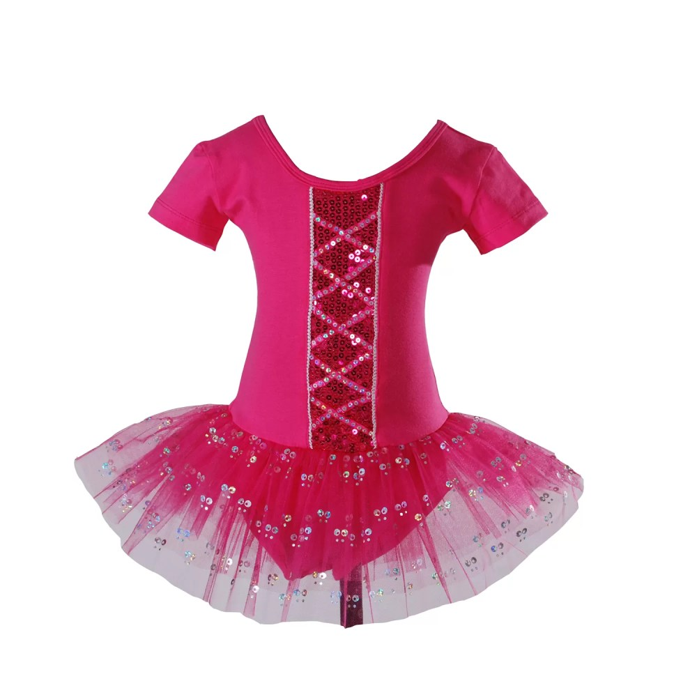 GIRLS BALLET DRESS DANCE TUTU DRESS Hot Pink Ivory Black 2-6  YEARS