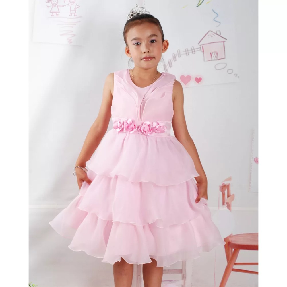 Girls Party Dress  Flower Girl Dress Pink Ivory 2-6 Years