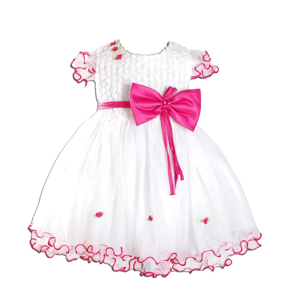 Baby Girls Party Dress Ivory Hot Pink 3-18 Months