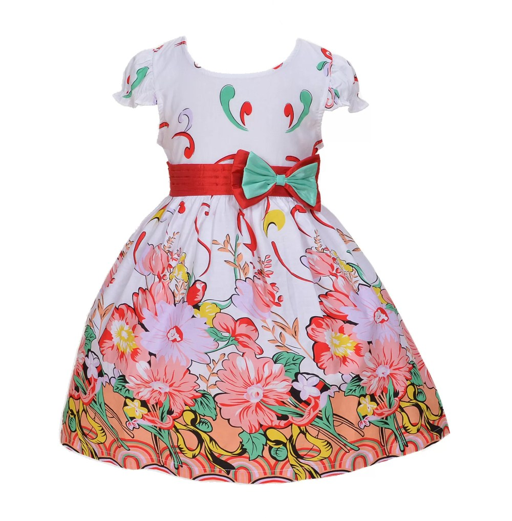 Girls White Pink and Red Floral Party Dress