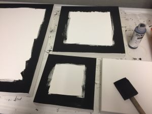Painting canvas in preparation for mounting quilts - Cindy Grisdela