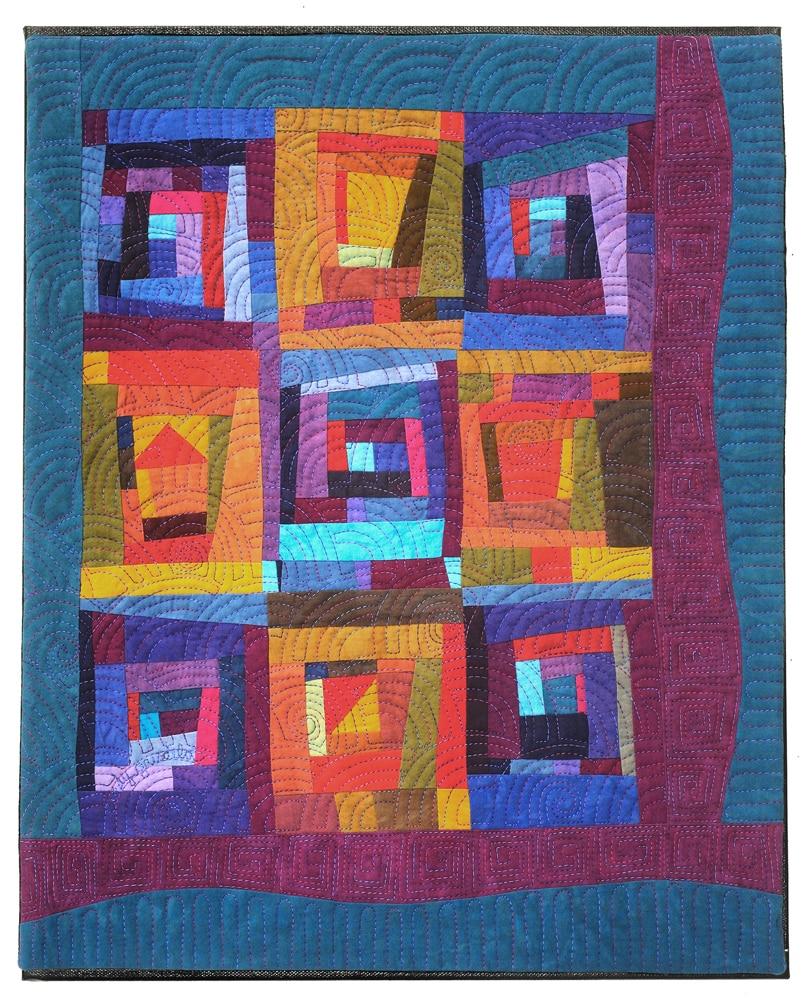Framed Boxes Art Quilt in blues and reds - Cindy Grisdela
