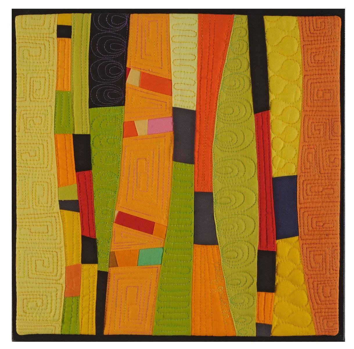 Metamorphosis art quilt in orange yellow and green - Cindy Grisdela