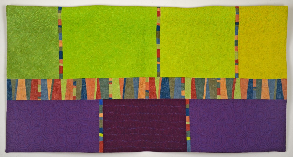 Promenade Art Quilt in Purple and Green - Cindy Grisdela Art Quilts